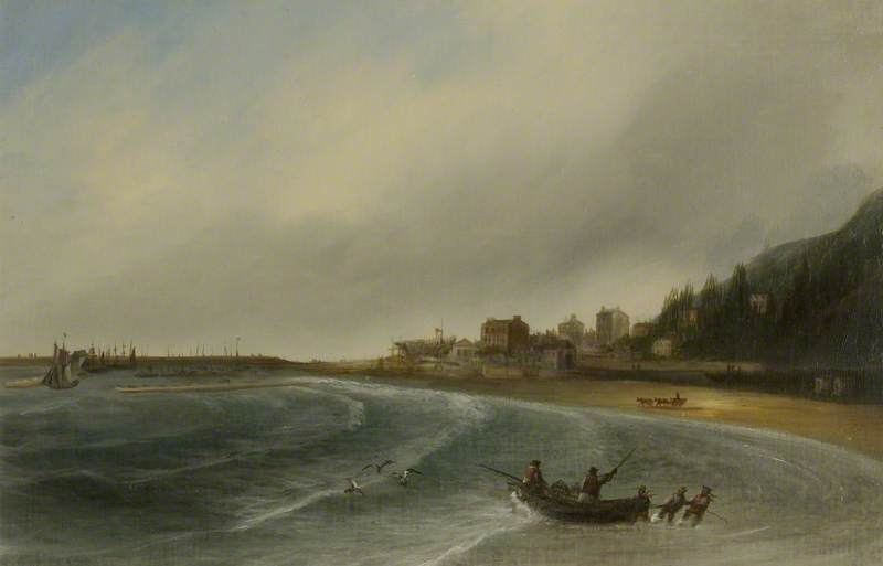 View of the Cobb and the Bay, Lyme Regis, Dorset by unknown artist (c) Lyme Regis Museum; Supplied by The Public Catalogue Foundation